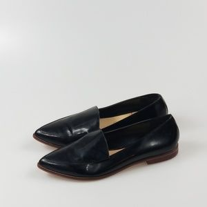 Sole Society Black Patent Pointed Toe Loafer Slip